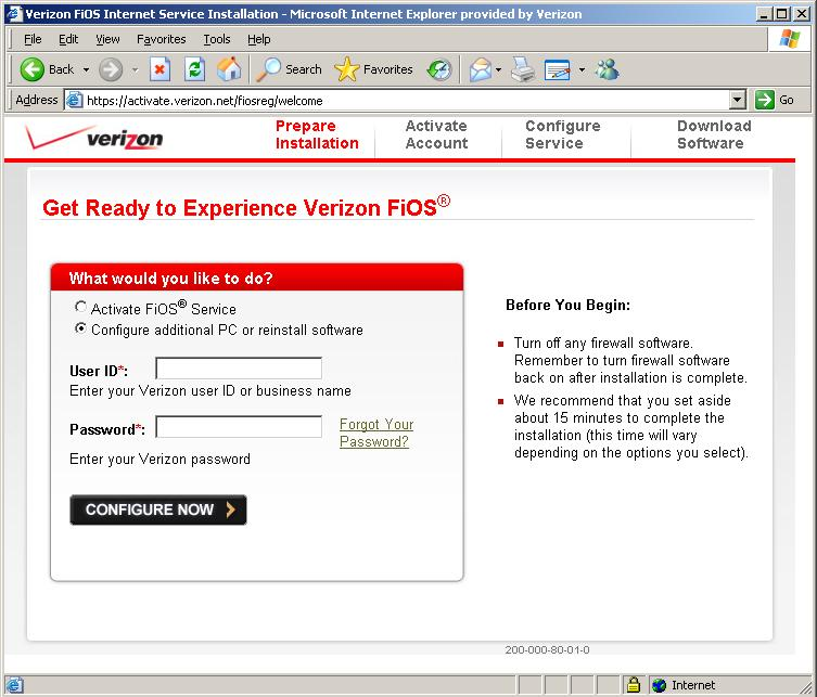 verizon net mail setting: