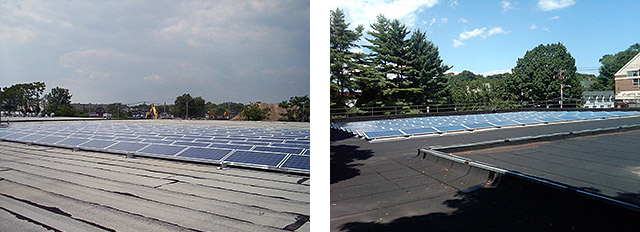 The Garden City solar panels (left) and Port Washington solar panels (right)