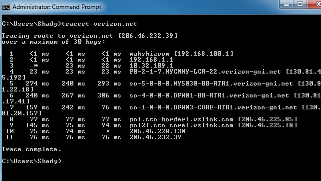 Tracert to verizon.net
