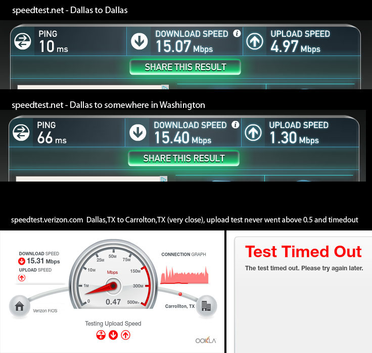 extreme slow upload speed in Dallas area - Page 2 ...