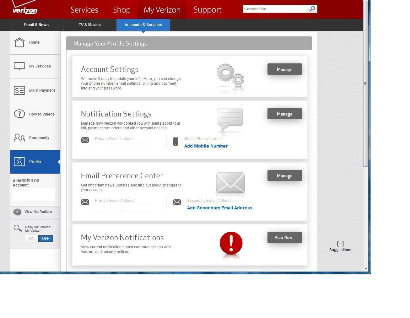 Cannot create an email sub account - Verizon Forums