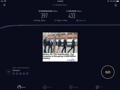 WiFi speed test from iPad 4 mini using Nighthawk
