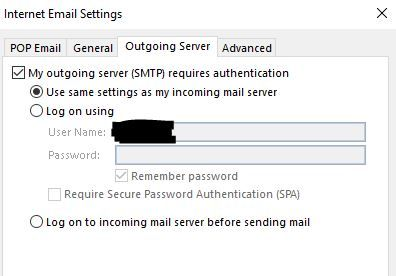Outgoing Server - SMTP Settings