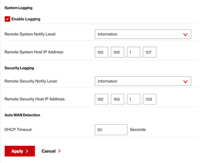 FIOS Gateway setup screen