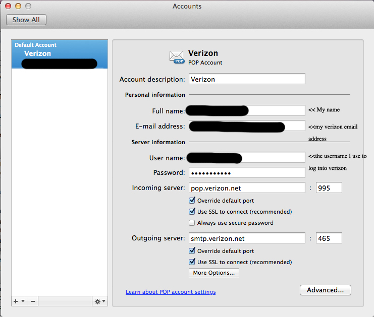 new verizon email setting changes with outlook 2011 on mac