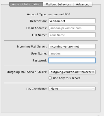 Solved: New email settings not working on my Mac - Verizon Fios