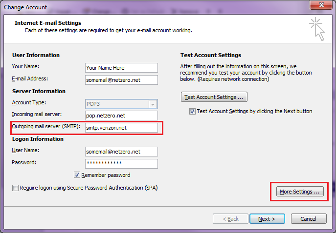 solution --email settings for verizon - outlook