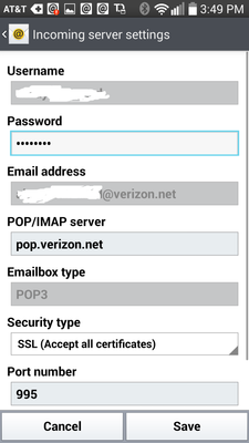 Emails failing to send on Android phone - Verizon Fios Community