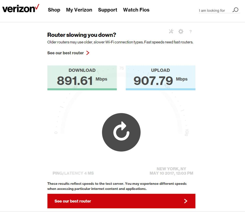 Not gigabit speeds - Verizon Fios Community