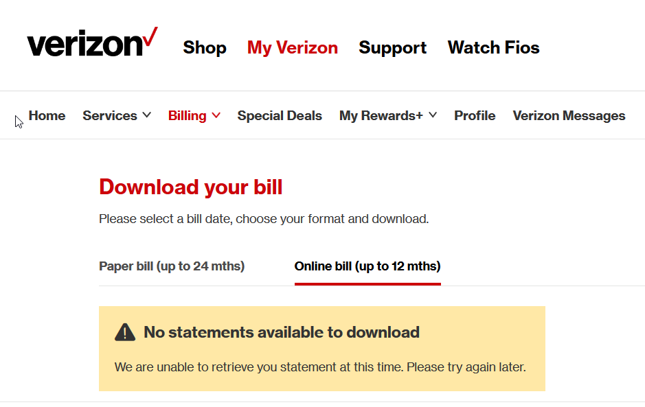 Why Cant I View My Bill For Fios Internet After I Log In Online - Commercial invoice template word free verizon online store