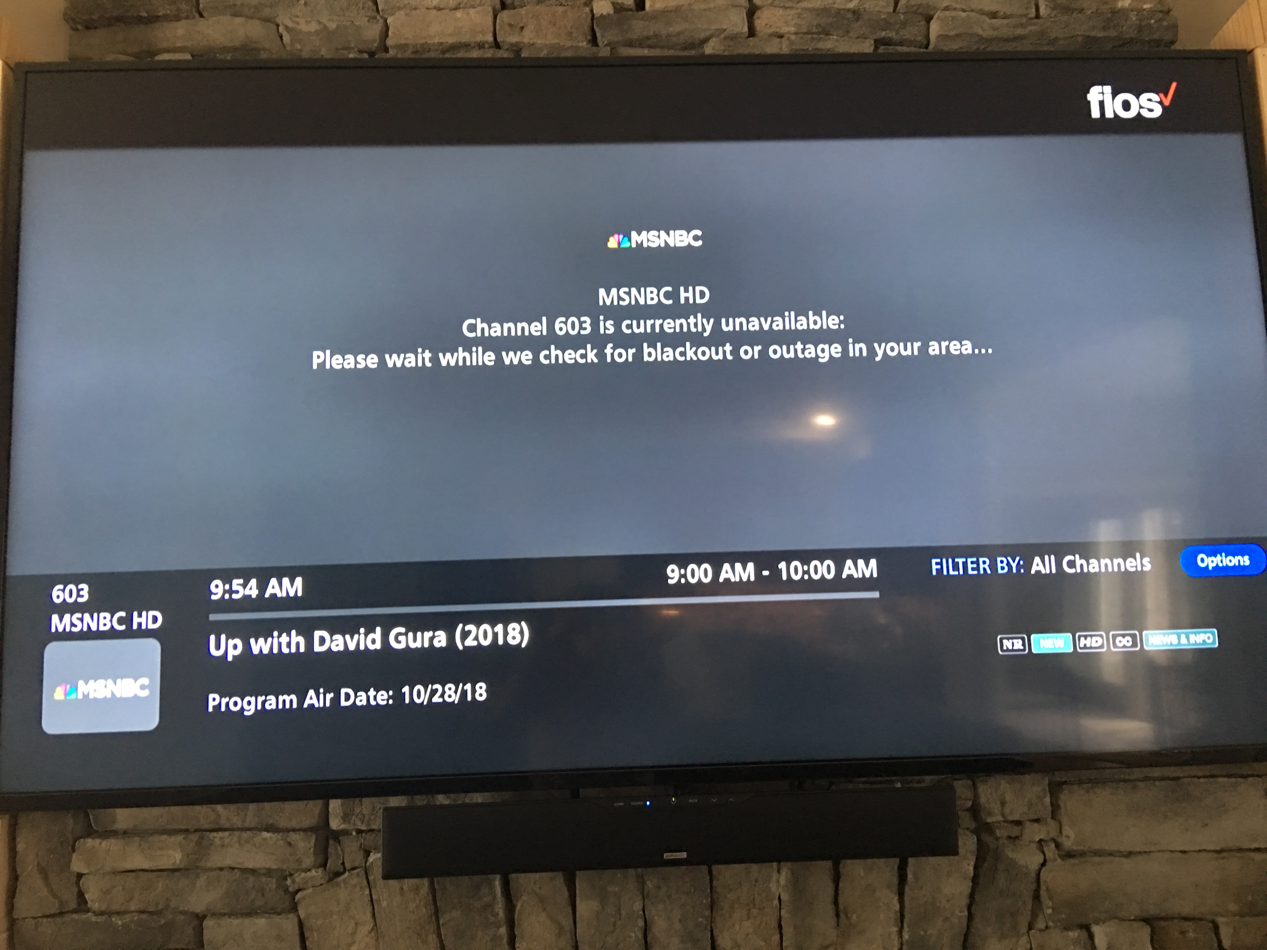 Some channels have been out since Oct 26, 2018 - Verizon