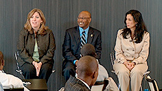 Students at City Poly get mentoring and career advice from Verizon's senior executives: (left to right) Nicki Palmer, Mike Millegan, and Magda Yrizarry