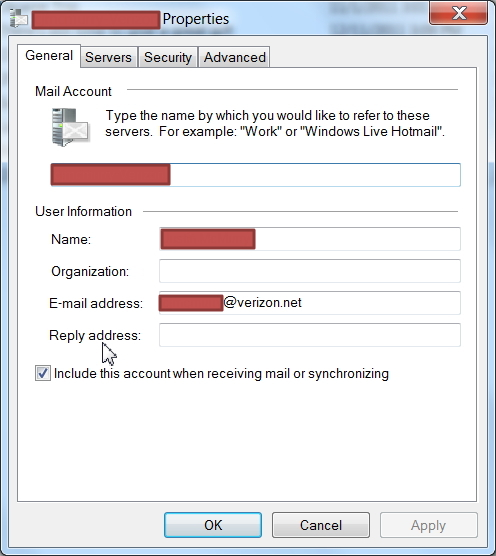 Windows Live Mail SSL Account Definitions for verizon net Email